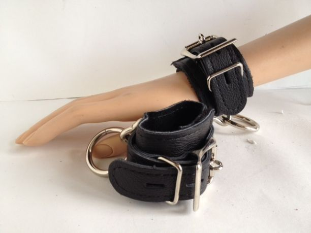 Leather Locking Restraint Cuffs - 8""