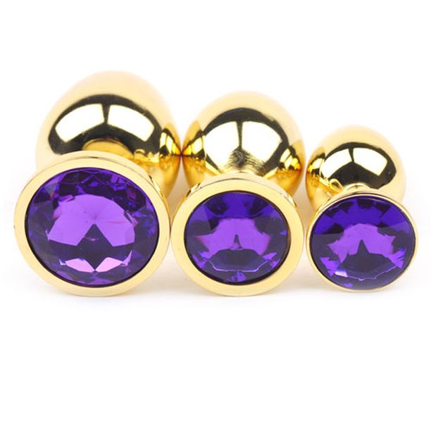 Gold Purple Jeweled End Anal Plugs