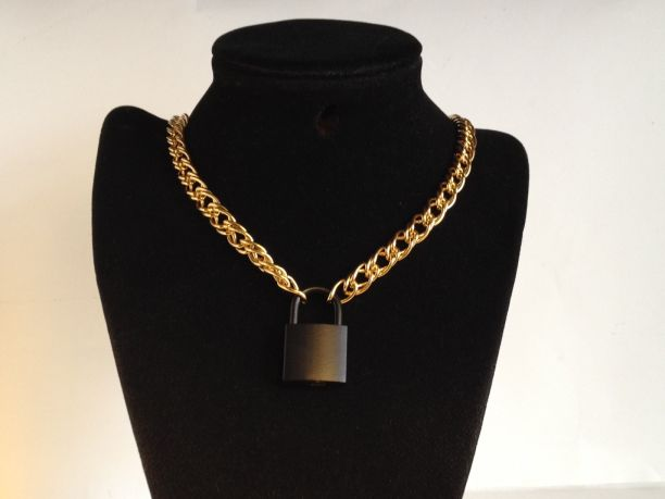 "20"" Chain Collar with Black Lock - Brass"