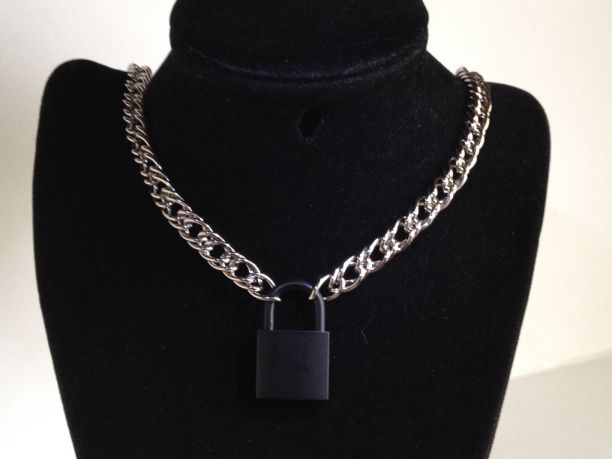 "20"" Chain Collar with Black Lock - Steel"