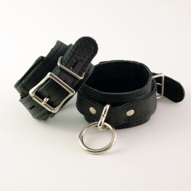 Leather Locking Restraint Cuffs - 10""